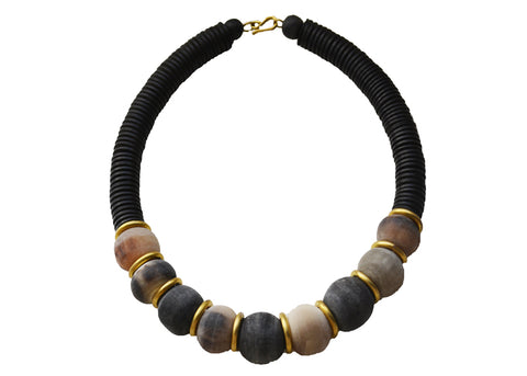 handmade African clay bead statement necklace