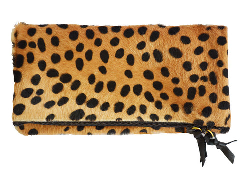 cheetah print faux fur clutch purse