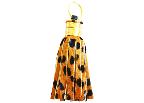 faux fur cheetah print and gold keychain