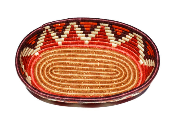 woven African basket with chevron design