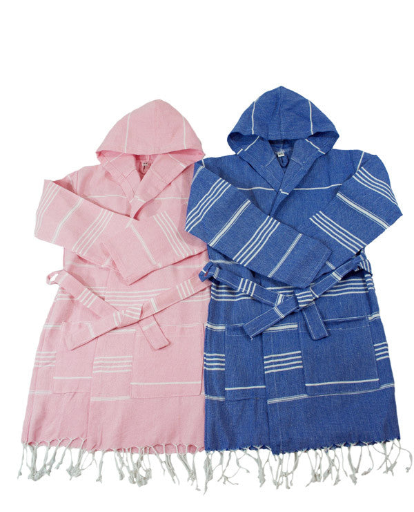 children's pink and blue striped Turkish towel bathrobes with belt hood and tassels