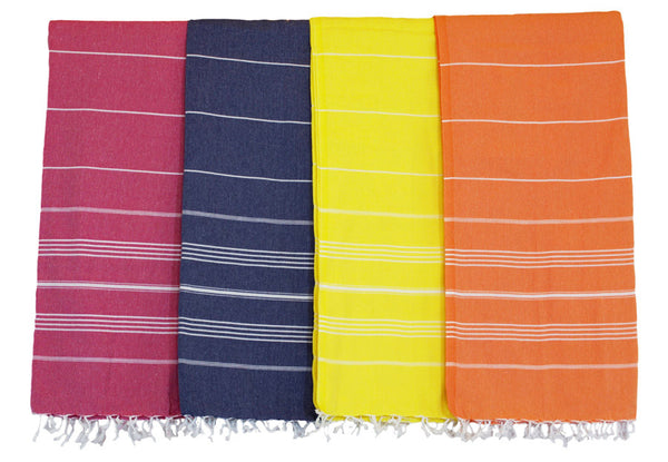 brightly colored authentic extra large Turkish towels with stripe