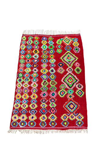 colorful red and neon diamond accent Moroccan rug