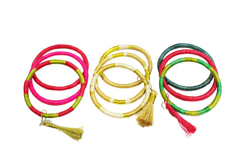 colorful woven straw bracelets with tassel