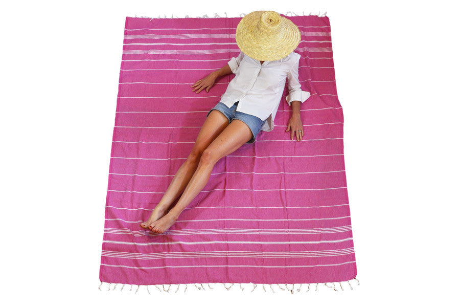 brightly colored authentic extra large Turkish towel with stripe