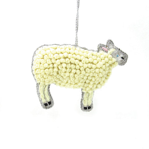 handmade wool sheep Christmas tree ornament