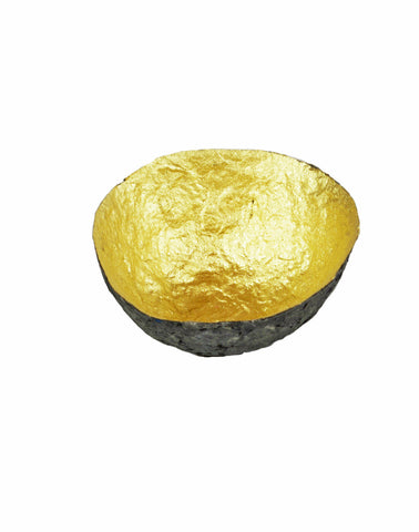 up-cycled recycled gold gilded African paper pulp bowl