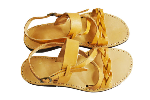 handmade greek tan leather sandals