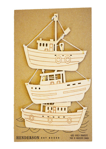 handcrafted wooden fishing boat Christmas tree ornaments
