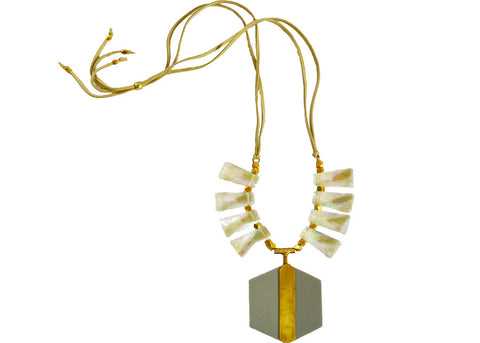statement necklace with hexagon pendant adorned with brass and iridescent detail beading