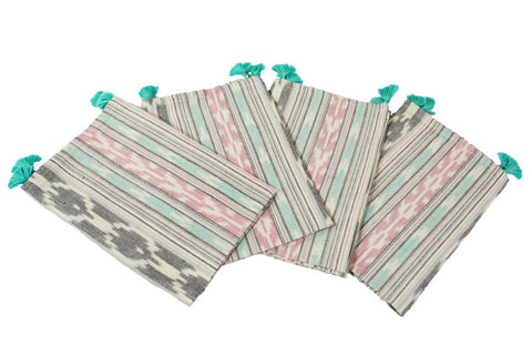 pastel ikat woven napkins with teal tassels