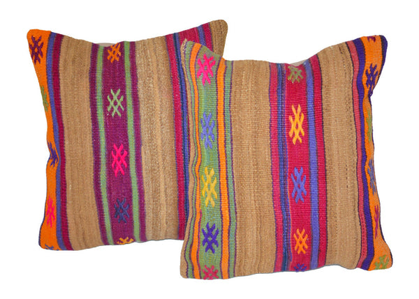 pair of colorful handmade vintage Turkish kilim pillows