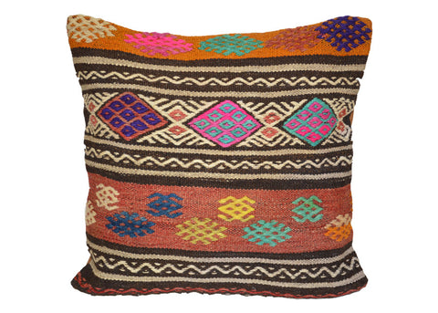 colorful  embroidered vintage Turkish kilim pillow