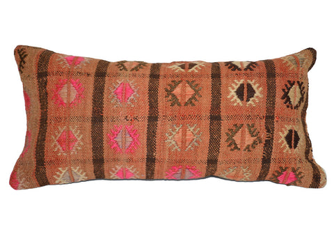colorful Turkish kilim lumbar pillow