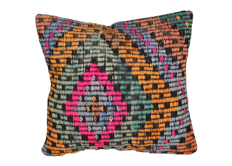colorful handmade vintage Turkish kilim pillow