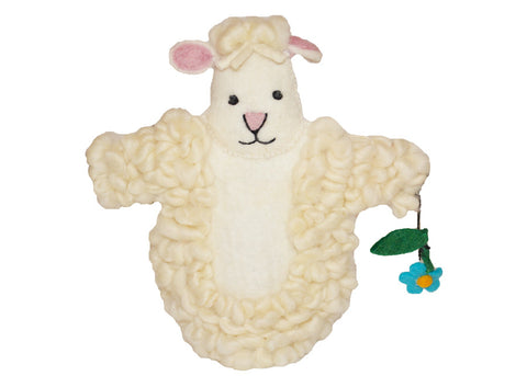 handmade organic felt wool lamb sheep puppet toy