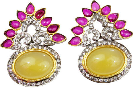 Rosena Sammi yellow onyx, ruby and diamond style boho earrings