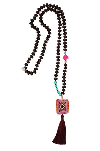 long tassel bead layering necklace