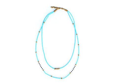 handmade brass and maasai glass bead layered necklace
