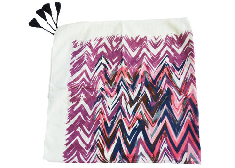 lightweight artisan ikat scarf in purple, pink and navy chevron print with tassels