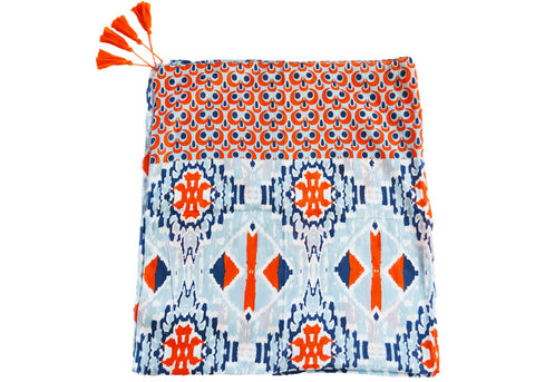lightweight artisan orange and blue ikat scarf with tassels