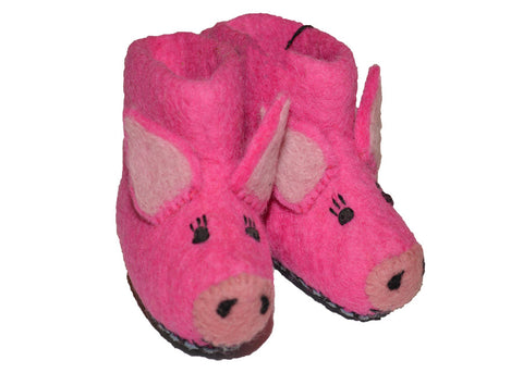 handmade organic felt wool pig animal baby booties shoes