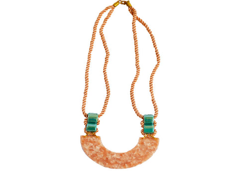 pink lucite statement necklace
