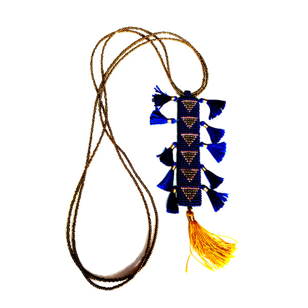 handmade blue beaded geometric necklace with tassel details