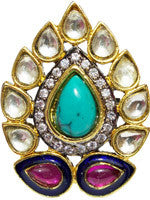 gold ring with cubic zirconia, crystal, turquoise and ruby colored stones