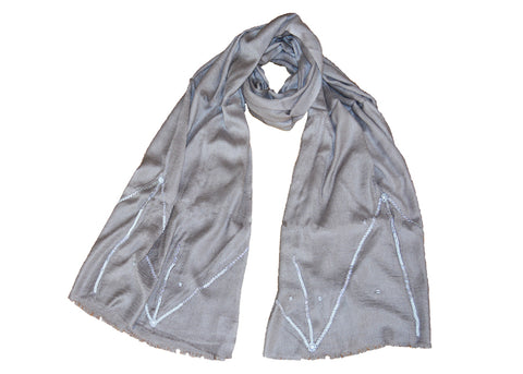 handmade grey scarf with beading detail