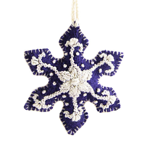 Embroidered Snowflake Christmas Tree Ornament