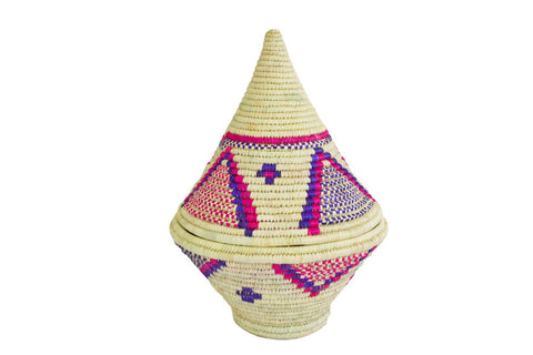 Cone shaped woven Moroccan African Basket with lid