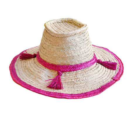 woven straw sun beach hat with magenta tassel detail