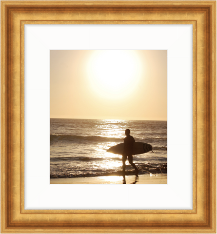 surfer at sunset on beach photograph art