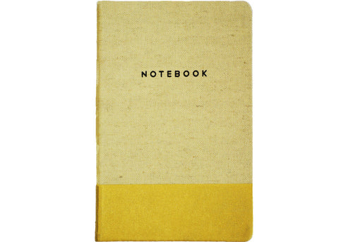 linen bound notebook with metallic gold paint accent