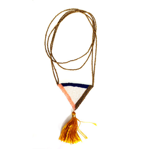 handmade triangle beaded statement necklace with tassel