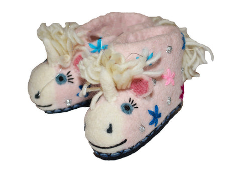 handmade organic felt wool unicorn horse animal baby booties shoes