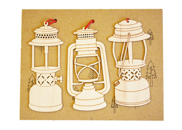 handcrafted wooden camping lantern Christmas ornaments