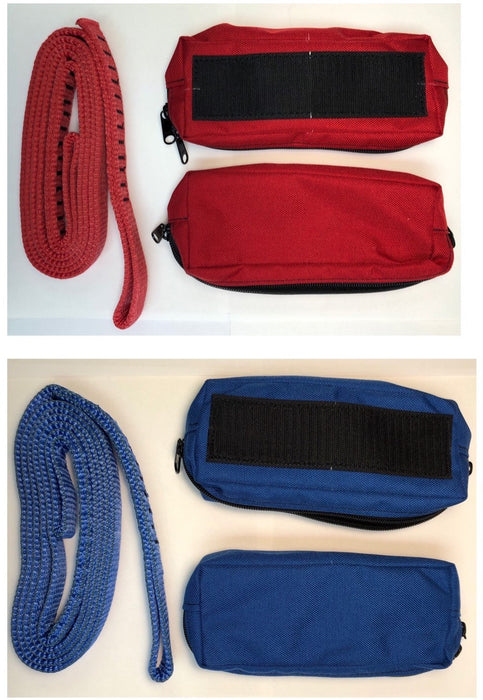 Red & Blue Horizontal Bridle Bag and Webbing
