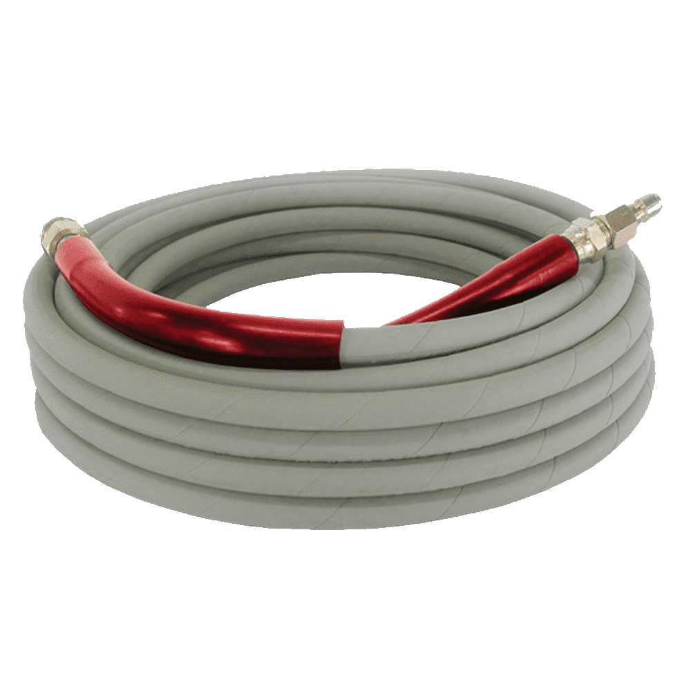 "50' Grey High Pressure Rubber Hose - 3/8"" 6000psi - Clean Quip"