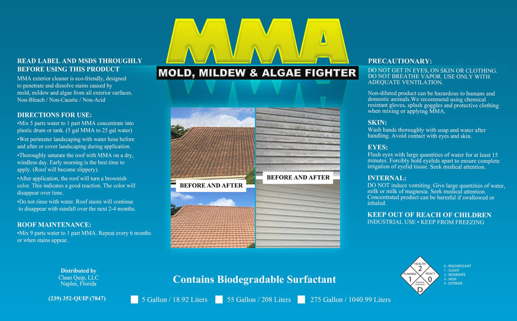 MMA - Mold, Mildew & Algae Fighter 55 Gallon - Clean Quip
