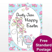 Daffodil & Floral Chick Easter Personalised Card