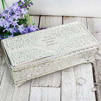 Antique Silver Plated Personalised Jewellery Box
