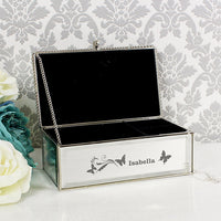 Butterfly Swirl Mirrored Personalised Jewellery Box