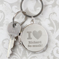 I heart Photo Frame Round Personalised Keyring