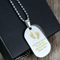 Footprints Stainless Steel Personalised Dog Tag Necklace