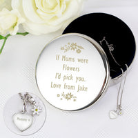 Personalised Engraved Floral Round Trinket Box & Silver Heart Pendant with Daisy Charm Gift Set