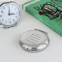 Scroll Design Personalised Round Travel Clock