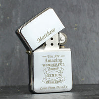 Vintage Typography Personalised Lighter