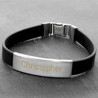 Male Rubber & Steel Personalised Bracelet